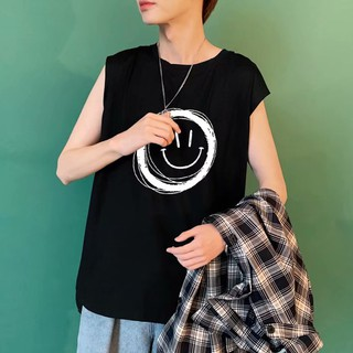 Vest Men's Sleeveless T-shirt Korean Printing Ins Loose Trend Large Size Sports Top