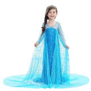 Váy đầm hóa trang công chúa elsa đính kim sa kèm tà dài cho bé gái E152