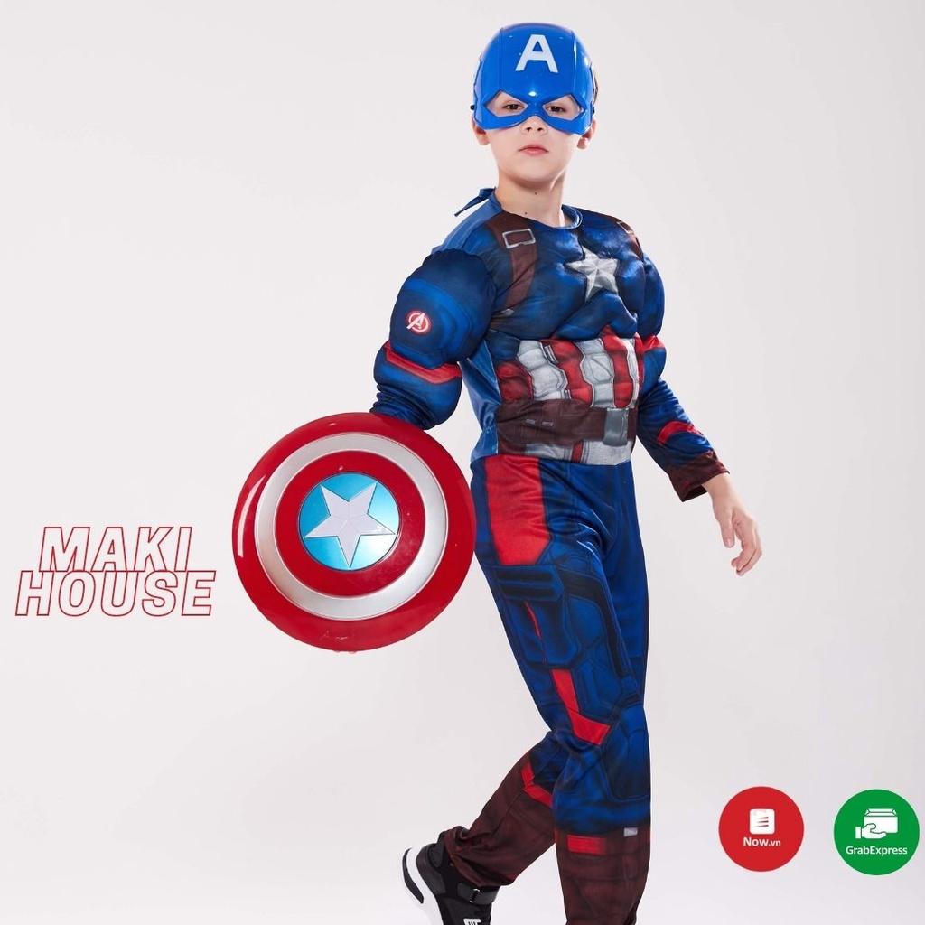Hoá Trang quần áo bé trai Người Nhện Siêu Nhân Đội Trưởng Mỹ. HTC28