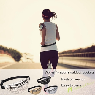 Holographic Waist Bags Women Fanny Pack Geometric Leather Chest Phone Pouch