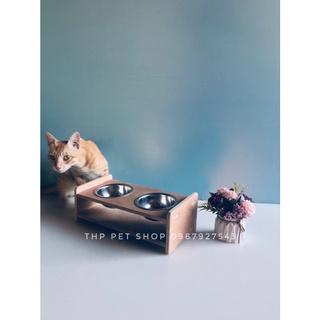 Khay đựng bát ăn cho chó mèo chống lật đổ, gỗ cao cấp chống thấm nước. thumbnail