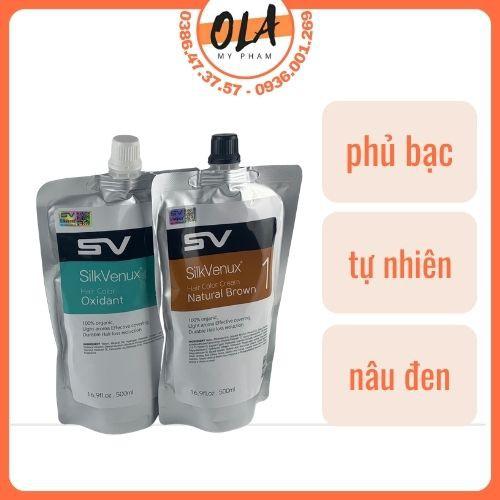 Thuốc nhuộm tóc phủ bạc tự nhiên Sikvenux Brown 500mlx2 - mỹ phẩm ola