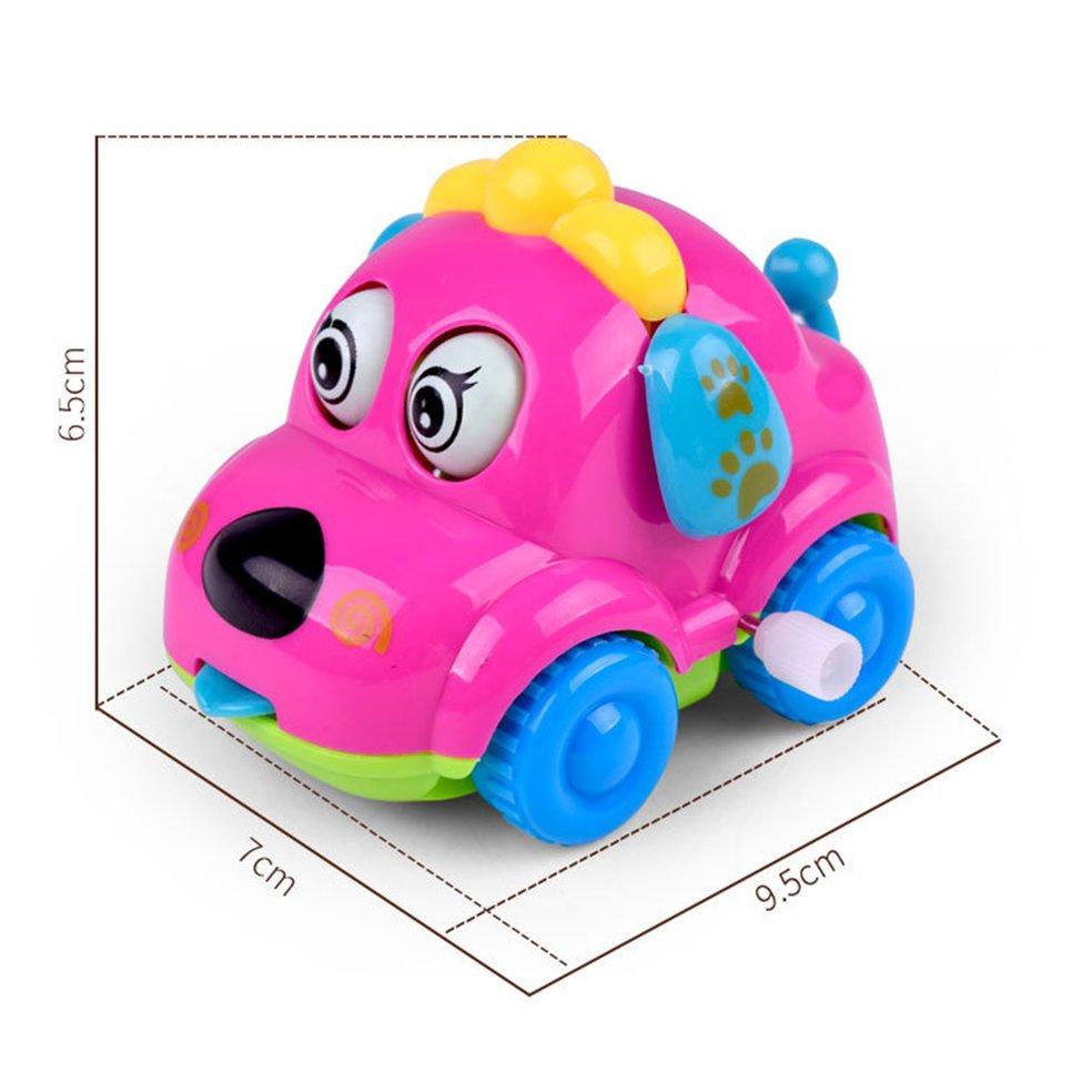 Kawaii Lovely Cartoon Animal Dog Toys Running Car Clockwork Toys Classic Toy
