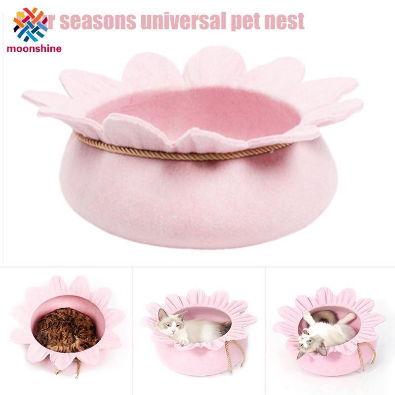 Pets Dog Cat Bed Flower Shape Felt Nest Warm Mat Pad Kitten Puppy Sofa