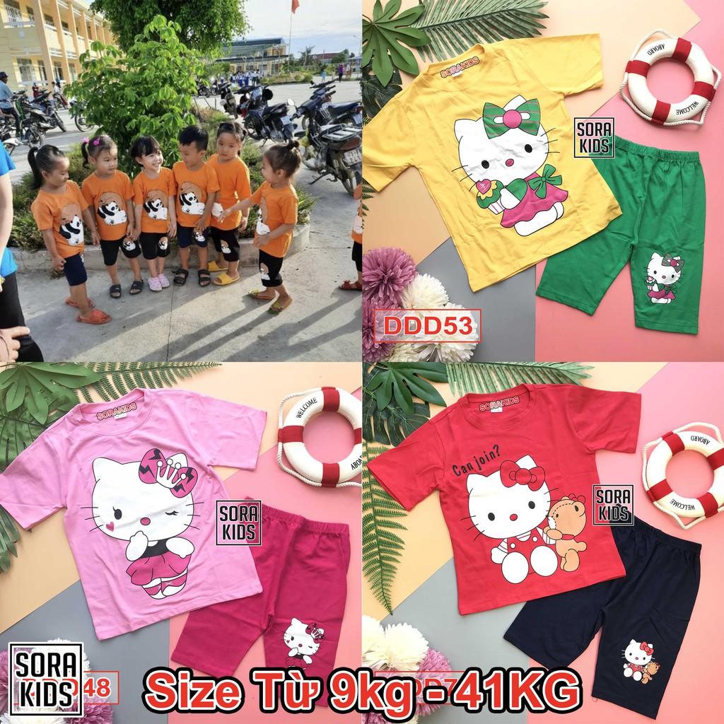[ Size từ 9-40 kg ] bộ lửng ngố in hình mèo kitty cho bé gái 2-10 tuổi 100% cotton Sorakids , bộ cộc tay Minky Mom