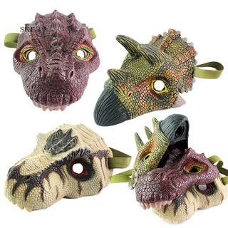 Scary Rex Triceratops Dinosaur Latex Face Mask Halloween Cosplay Party Supples