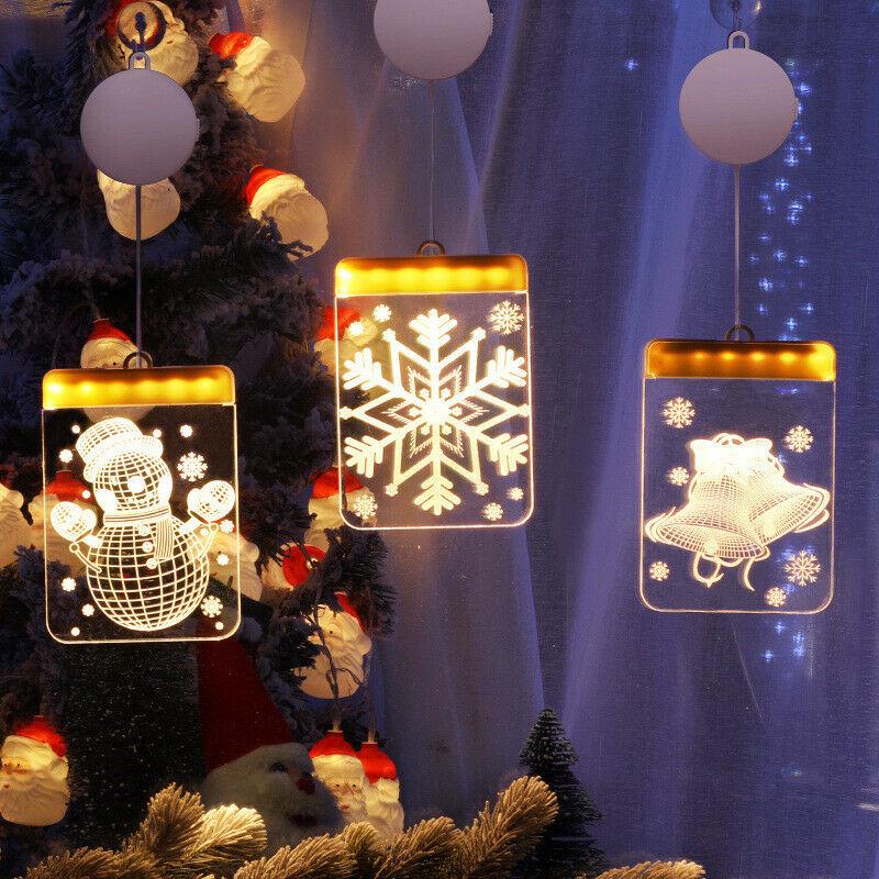 Đèn Treo Trang Trí Cây Thông Giáng Sinh Hình Bông Tuyết / Tuần Lộc / Chuông / Bông Tuyết