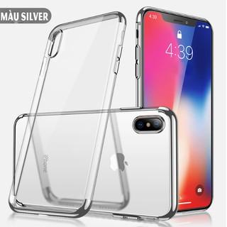 Ốp iphone XS MAX, ip x trong suốt viền màu thời trang