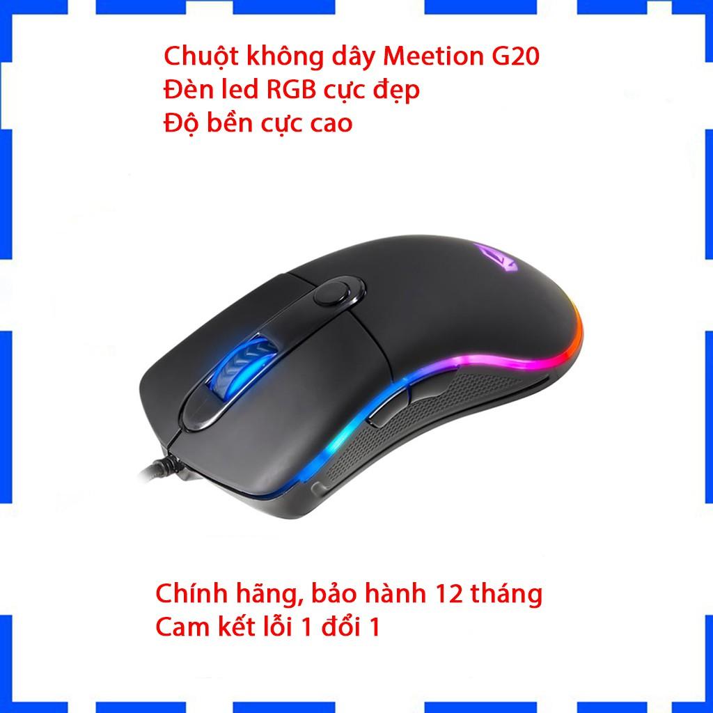 Chuột Gaming Meetion G20 - Đèn led RGB cực đẹp - Độ bền cực cao - Cam kết chính hãng - Bảo hành 12 tháng - Lỗi 1 đổi 1