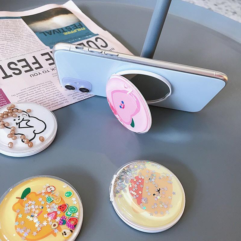 Giá đỡ chông lưng cho điện thoại - Popsocket nhũ kim tuyến kèm gương-pop phụ kiện