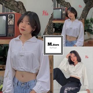 Áo Thun Croptop Dài Tay Khoá Cổ Logo Replei From Suông Rộng Phong Cách Thể Thao Có Ảnh Thật Và Video M.Store thumbnail