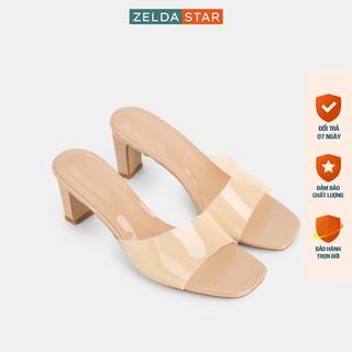 Guốc Zelda Star mũi vuông gót cao 6cm quai trong suốt - GN005820 thumbnail