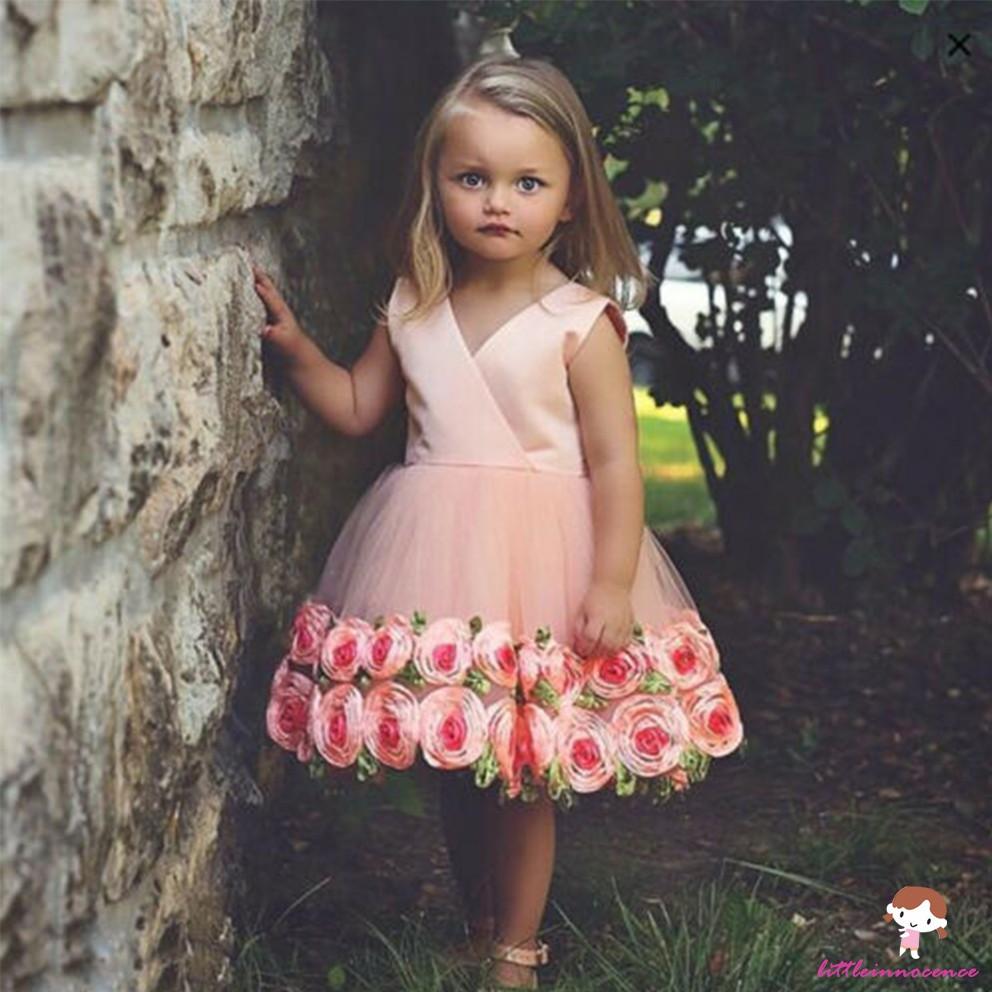 Đầm công chúa hoa hồng 3D dành cho bé gái