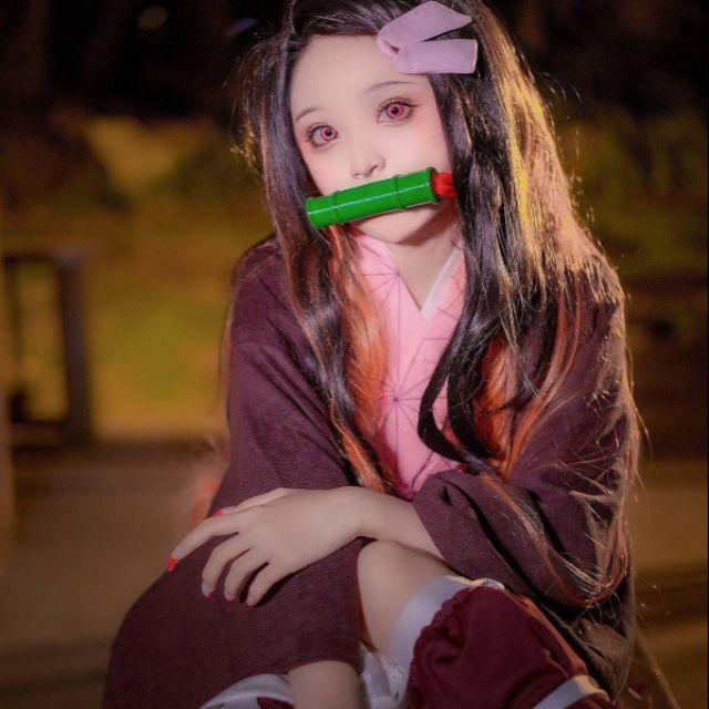 [ Kimetsu no yaiba ] Full set đồ cosplay nhân vật Nezuko tặng kèm ống trúc ( video, ảnh thật)