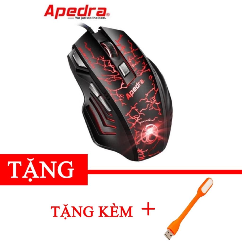 Chuột chuyên game Apedra A7 đẳng cấp game thủ 7 nút bấm led đổi màu Tặng kèm đèn led USB -gift2 dc24