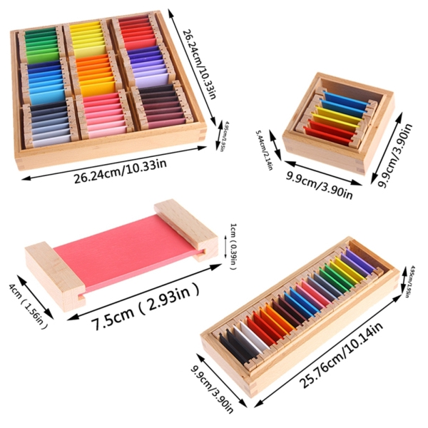 Montessori Wooden Sensorial Learning Color Tablet Box Color Card Wood Kids Preschool Color Training