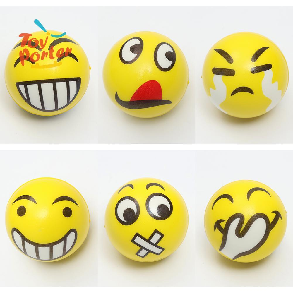 💞Kids Face Expression Squeeze Ball PU Hand Wrist Exercise Stress Relief Toys💞