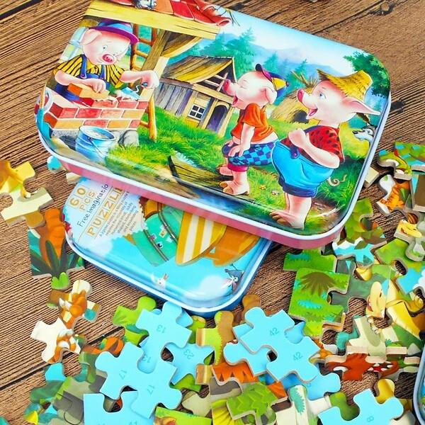 Đồ chơi Bộ ghép hình- ghép tranh giáo dục Montessori 60 chi tiết hộp sắt(mới) X7 in 1