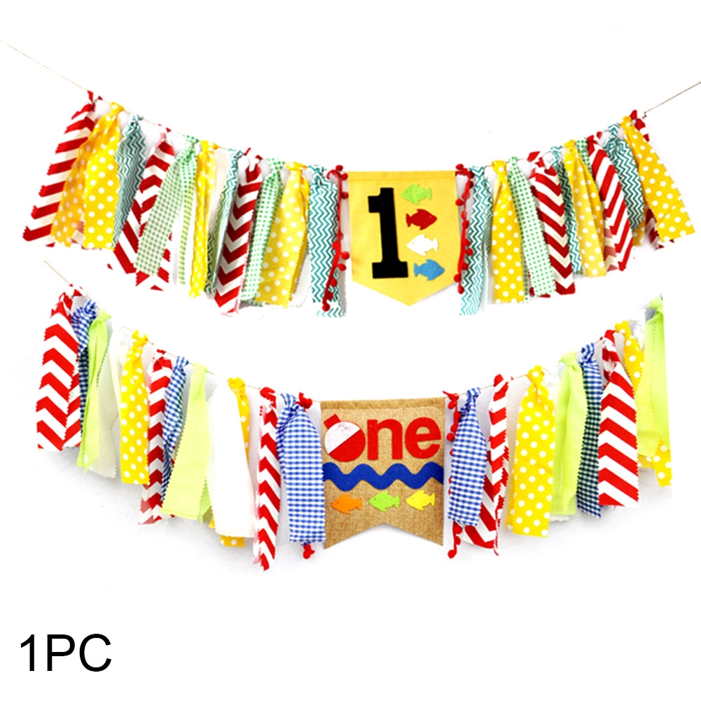 Bunting First Birthday Party Supplies High Chair Garland For Kids Photo Booth Props Banner
