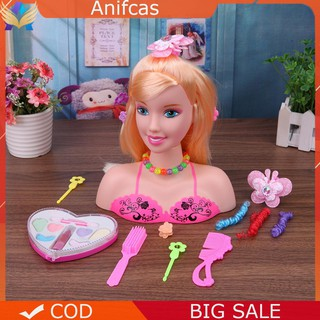 Anifcas Half Body Makeup Hairstyle Doll Mannequin Head Pretend Play Toys Girls Gift