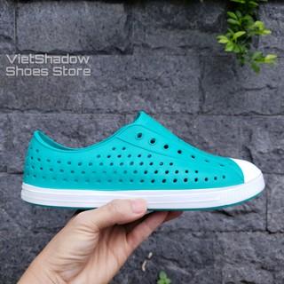 Giày nhựa đi mưa nam nữ - Chất liệu nhựa xốp siêu nhẹ - Màu xanh lơ thumbnail