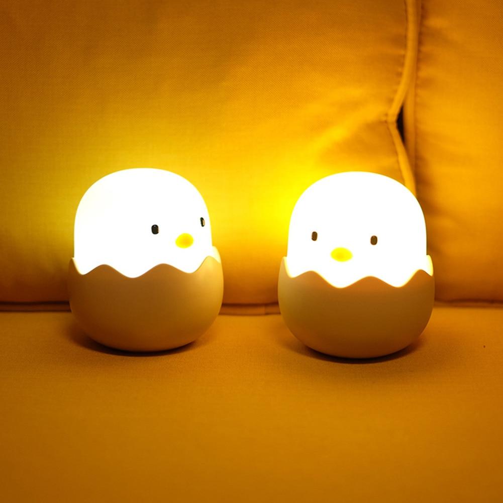 Đèn Ngủ Cảm Ứng Hình Trứng Gà Silicon Lãng Mạn Cho Bé