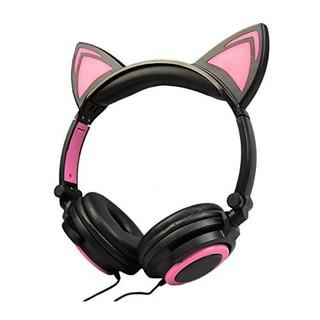 Tai nghe tai mèo TTLIFE đen hồng cá tính có led, chất lượng cao