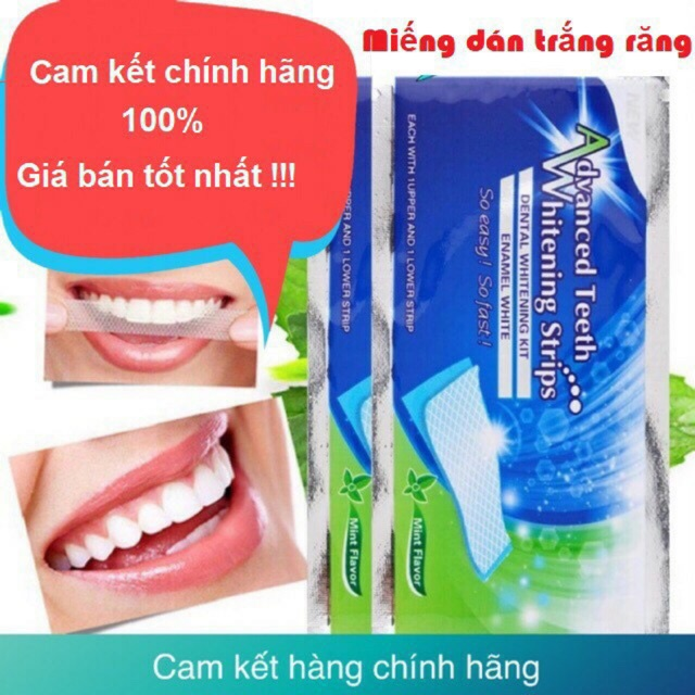 Miếng dán trắng răng hiệu quả nhanh Whitening Strip Advanced hộp 7 gói gồm 14 miếng