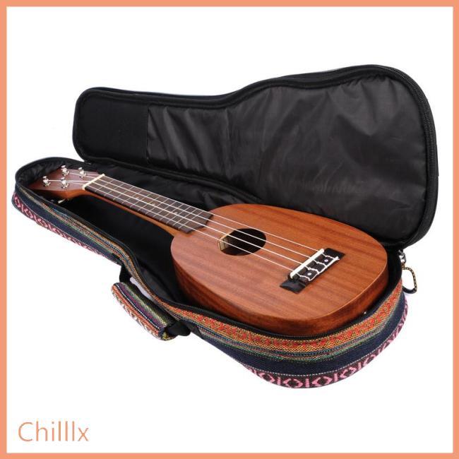 21/23/26 Ethnic Knitting Style Ukulele Bag Backpack Double Shoulder Strap Cotton Padded Ukelele Carrying Case