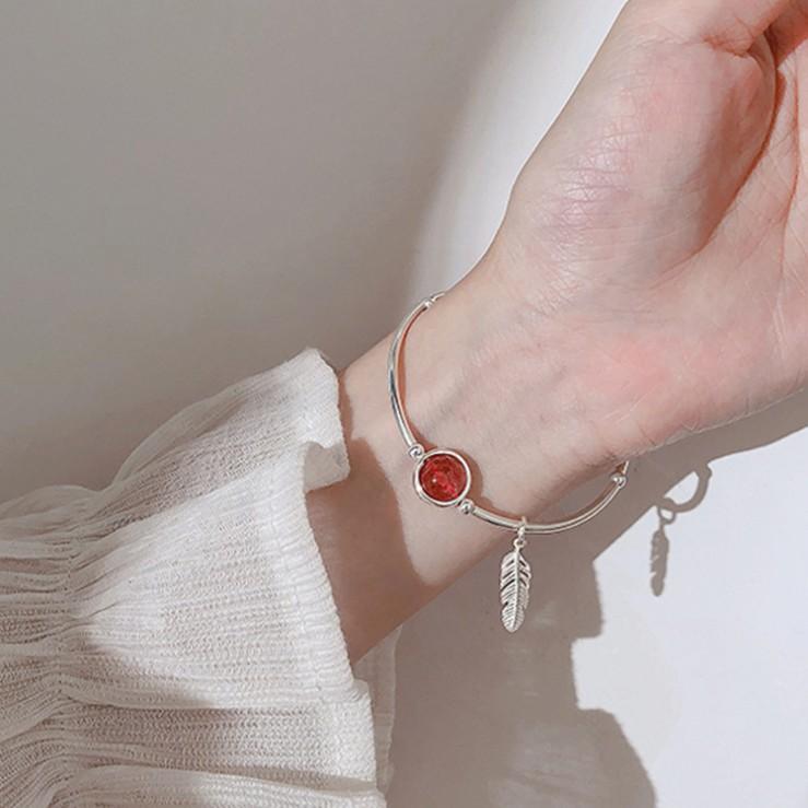 Lắc tay nữ bạc 925 vòng kiềng mặt đỏ xinh unicorn mẫu mới xinh XB-L37