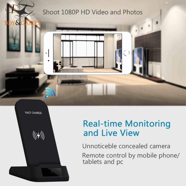 WiFi Hidden Camera with Wireless Phone Charger 1080P Security Cameras Hidden Nanny Cam with Motion
