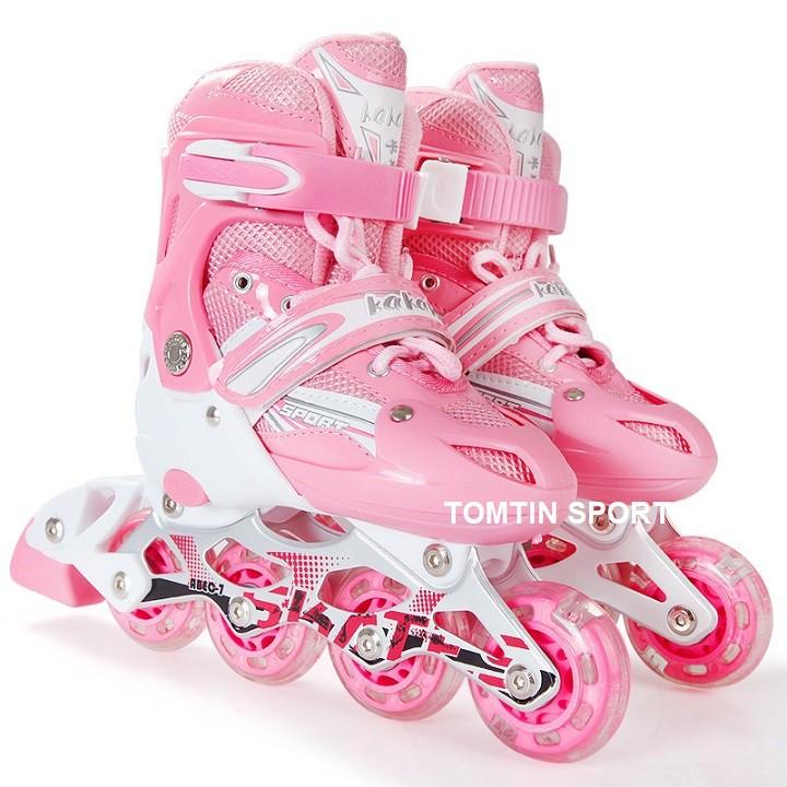 Giày patin trẻ em tặng kèm bảo hộ chân tay hãng Kakala đèn led có màu cho bé trai và bé gái