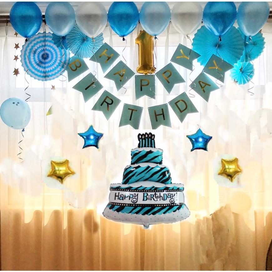 combo phụ kiện sinh nhật màu xanh - myle222