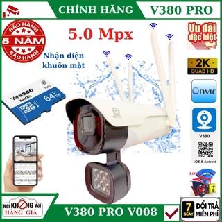 Camera wifi ngoài trời 4 râu 5.0Mpx V380 Pro - V008 , cảnh báo chống trộm, Nhận diện khuôn mặt, chống nước thumbnail