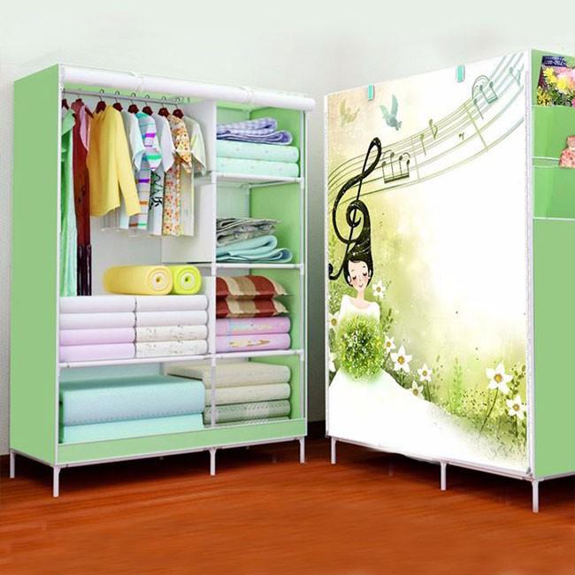Tủ vải đựng quần áo 3D 2 buồng 6 ngăn - Tủ Quần Áo TQA2B6N