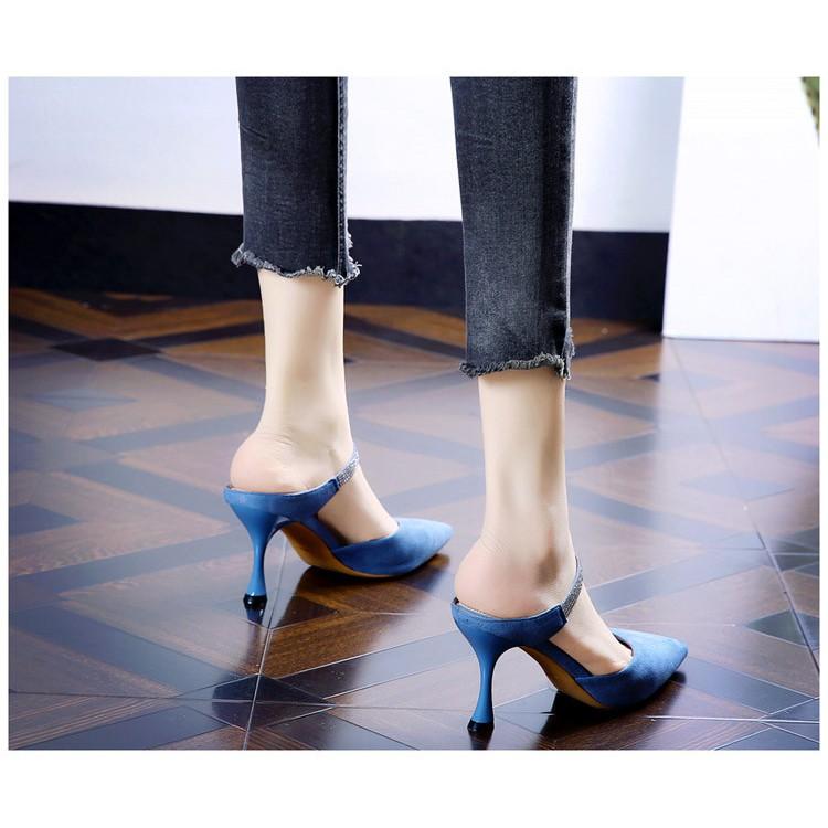 [ Mã FAMANU07 giảm 10% đơn 0đ ] Giày cao gót nữ,sục nữ LTC51 Quai đính đá, Dép cao gót