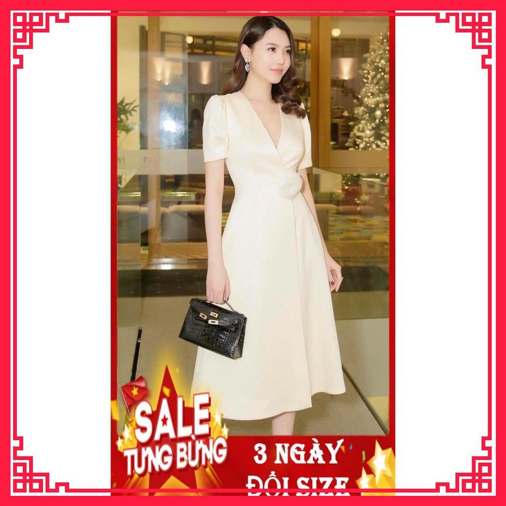 2325462037 - Váy Đầm Thiết Kế Cao Cấp - Vải Lụa Mềm Mịn Mát - Váy đầm nữ công chúa dáng xòe cổ tim tay bồng hoa eo ,.