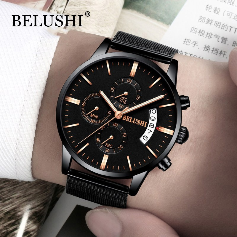 Đồng hồ nam BELUSHI B533N chạy 6kim chính hãng dây thép mành cao cấp + Tặng vòng tay cao cấp