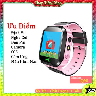 Đồng hồ thông minh định vị q90 nghe gọi 2 chiều có camera cảm ứng đèn pin màn hình màu