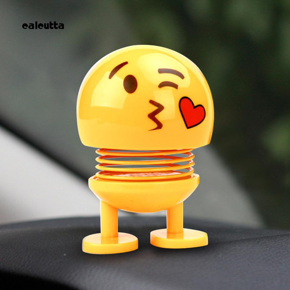 ◕‿◕Cartoon Shaking Head Emoji Spring Bobblehead Doll Home Car Dashboard Ornament