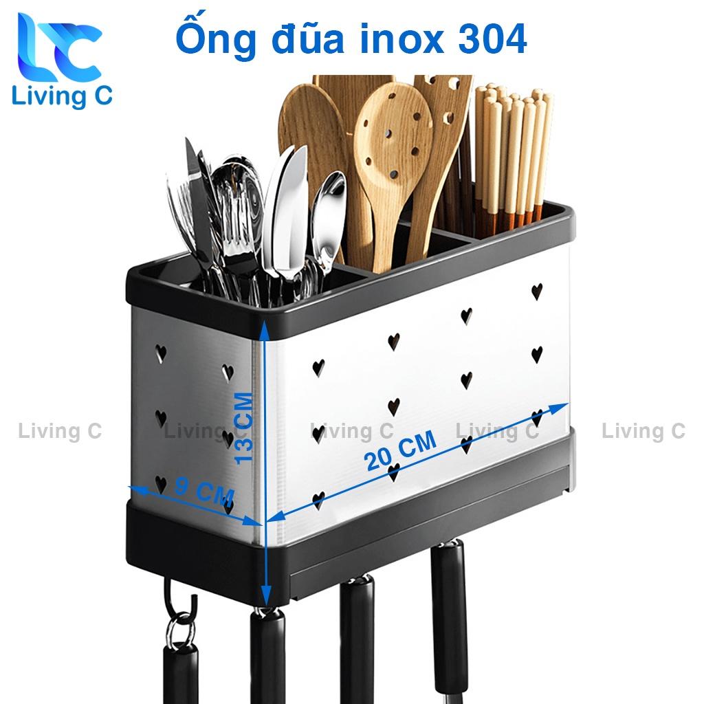 Giá kệ cắm dao đũa muỗng treo tường Living C, giá dao ống đũa nhà bếp INOX dán tường đa năng