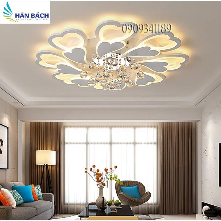 đèn mâm led pha lê hiện đại,đèn chùm đèn trong phòng ngủ phòng khách 3 màu