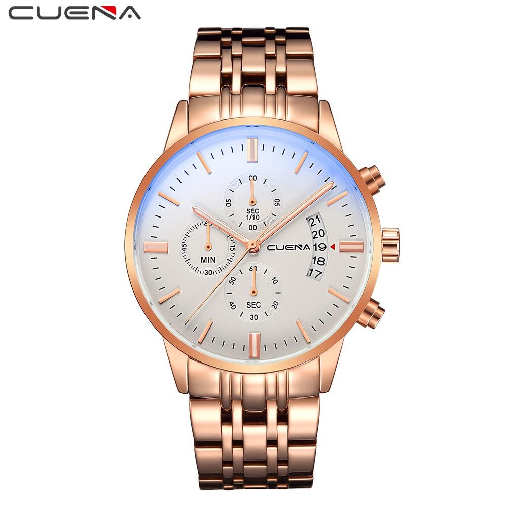 Đồng hồ nam CUENA dây thép sang trọng chạy full 6 kim có lịch ngày CUEA4