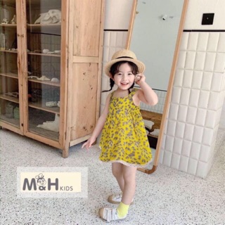 Váy hai dây hoa nhí cho bé 10-25kg chất đũi mềm mát
