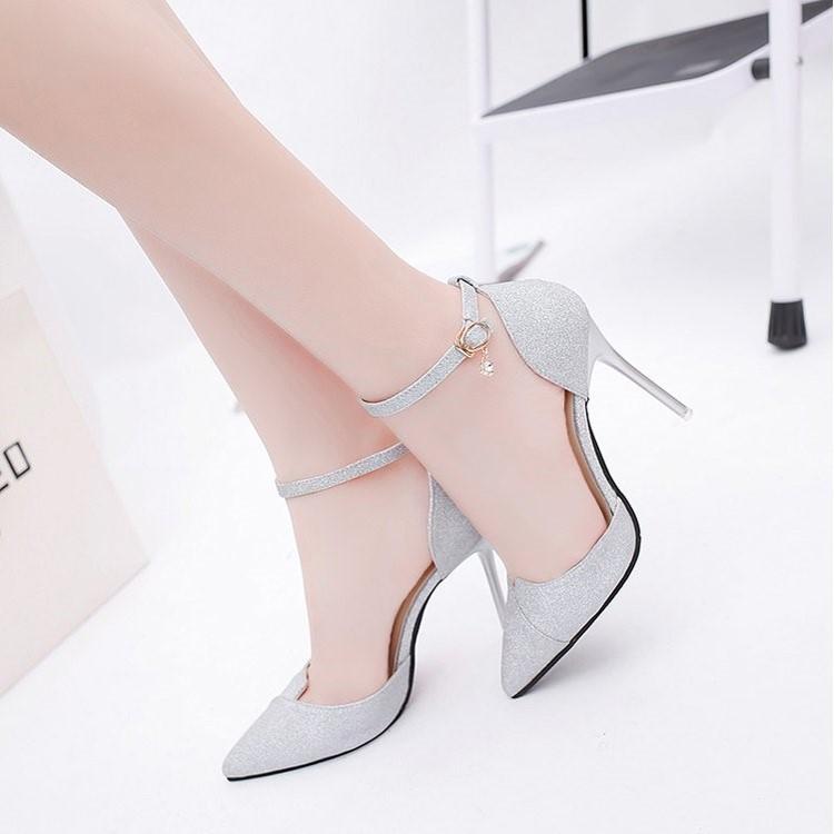 Giày cao gót bít mũi kim tuyến xéo mũi CG-0329