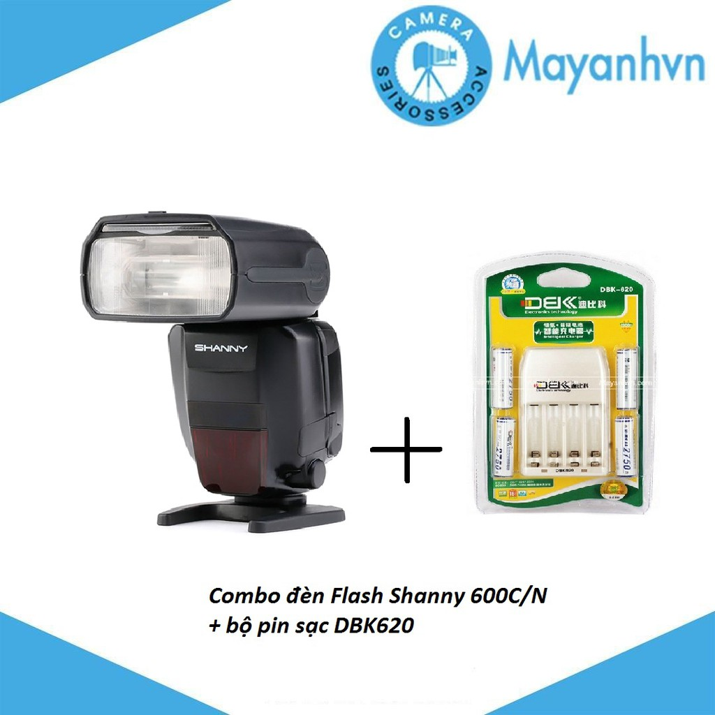 Combo Đèn Flash Shanny 600C/N + Bộ pin sạc DBK620