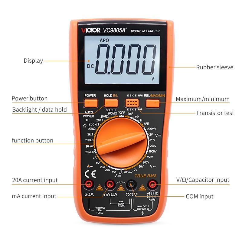 ดิจิตอลมัลติมิเตอร์ vc 9805 a+จริงที่มีประสิทธิภาพค่า dmm ac/dc ammer ประจุกระแสไฟความต้านทาน tester