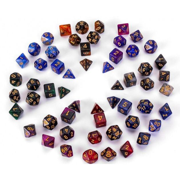 Bộ 7 viên xúc xắc xí ngầu đa diện phối 4 mầu giải ngân hà chơi Dungeons & Dragons