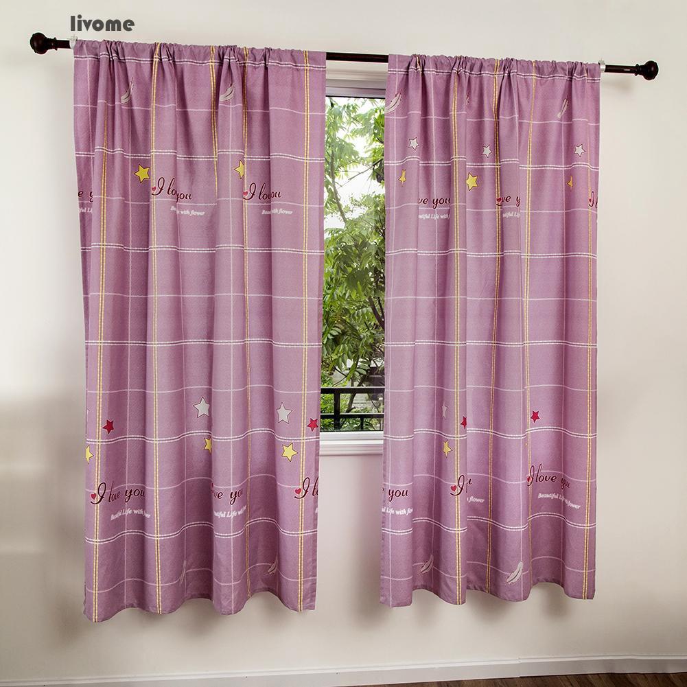 ✨AL✨ 100x200cm Grid Stars Printed Rod Through Drape Curtain Anti-sunlight Home Decor