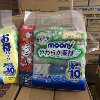 Giấy ướt Moony Nhật Bản sét 10 bịch 80 tờ